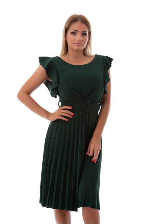 Fodros vállú, pliszírozott alkalmi ruha övvel, fenyőzöld