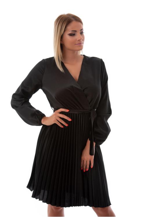 Hosszúujjú, pliszírozott szatén alkalmi ruha, fekete
