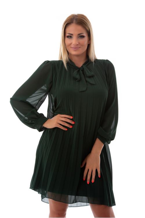 Nyakban masnis, pliszírozott alkalmi ruha, fenyőzöld