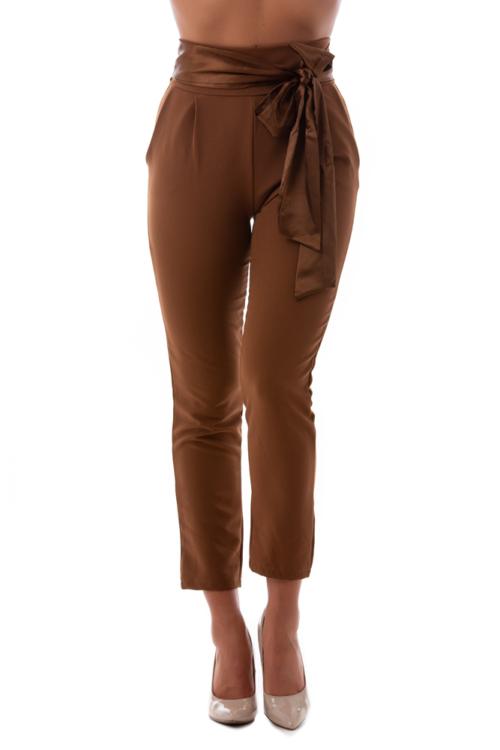 Magasított derekú alkalmi nadrág, mogyoróbarna