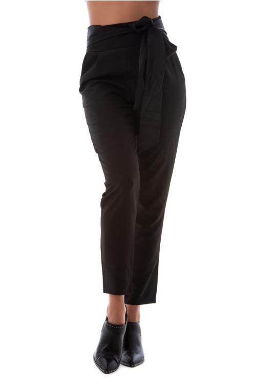 Magasított derekú alkalmi nadrág, fekete