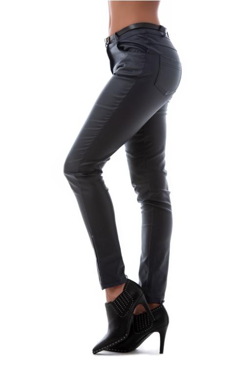 Bőrhatású nadrág, sötétkék
