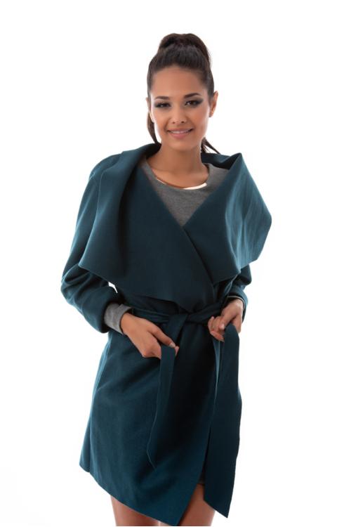 Szövethatású átmeneti kabát, kékeszöld