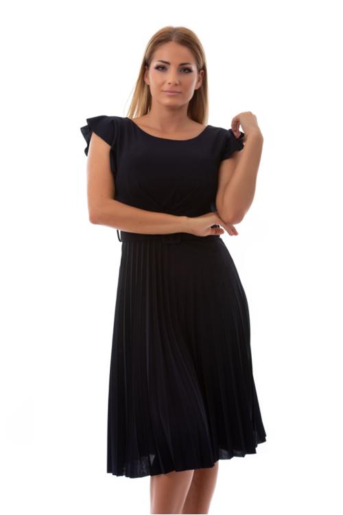 Fodros vállú, pliszírozott alkalmi ruha övvel, sötétkék