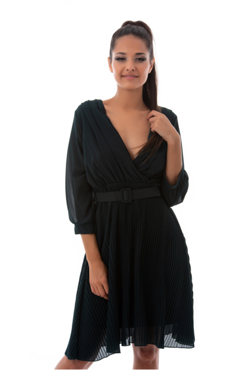 Öves, pliszírozott lenge alkalmi ruha, sötétkék
