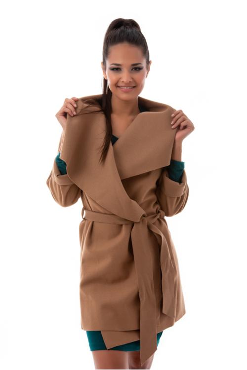 Szövethatású átmeneti kabát, fahéj
