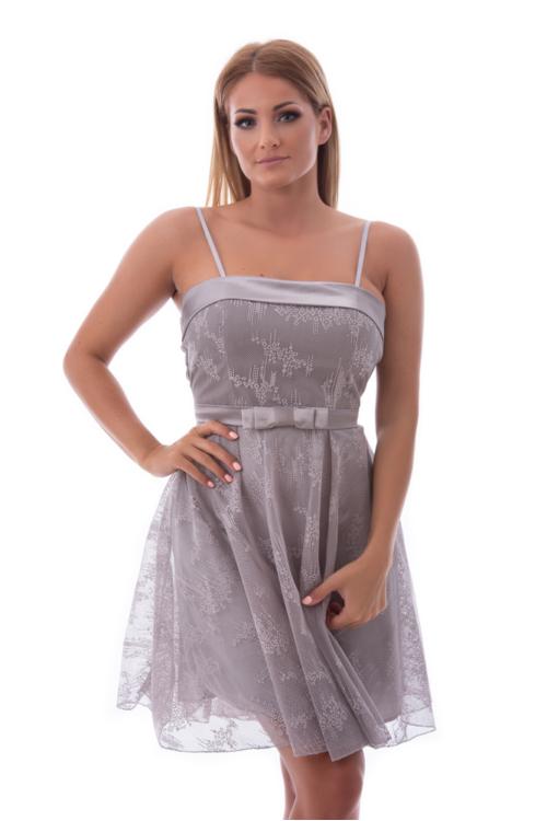 Shiny selyem rátétes koktélruha, ezüst