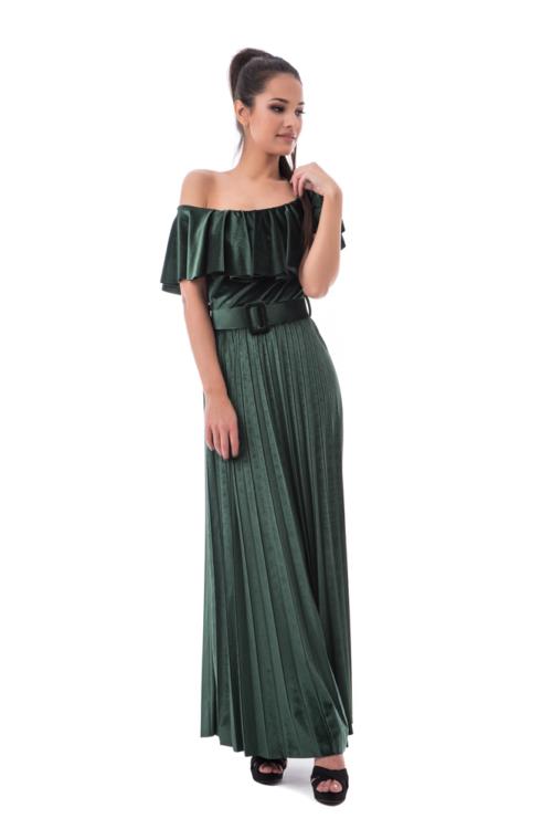 Bársonyos pliszírozott maxiruha, zöld