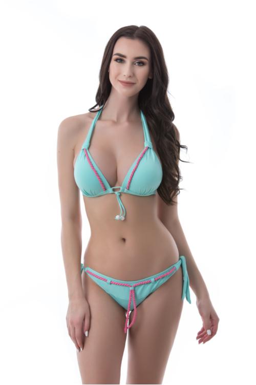Sea fonott dekoros push-up háromszög bikini, dekoros, kötős alsóval, menta-pink