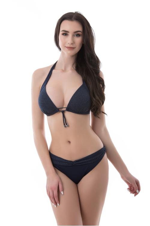 Sea lurexes kiszélesített push-up háromszög bikini, visszhajtós alsóval, sötétkék, C kosár
