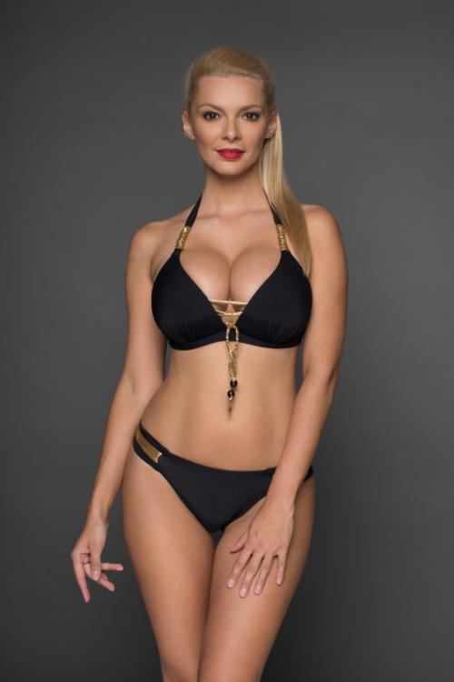 Pyramid push-up háromszög bikini, pántos alsóval, fekete-arany