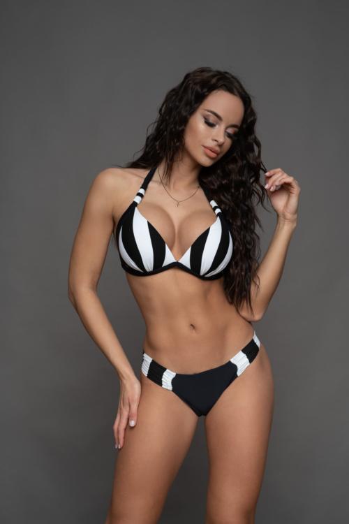 Pyramid csíkos kiszélesített push-up háromszög bikini, oldalt toldott alsóval, fekete-fehér, C-D kosár