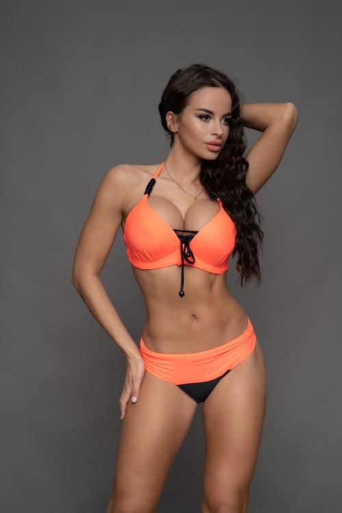 Pyramid kosár hatású fűzős bikini, visszahajtós alsóval, lazac-fekete D-E kosár