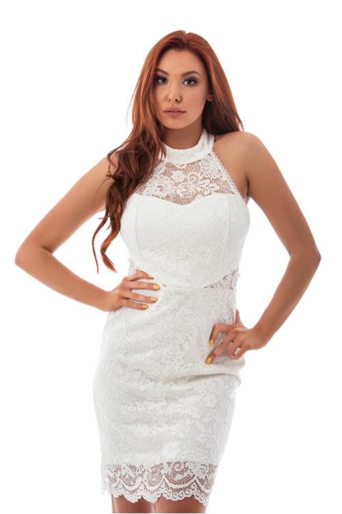 Nyakban záródó csipke ruha, fehér