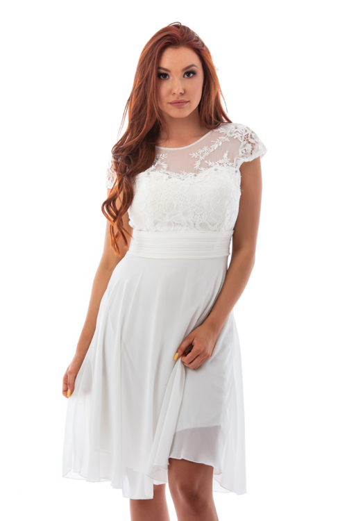 Csipkerátétes muszlin koktélruha, fehér