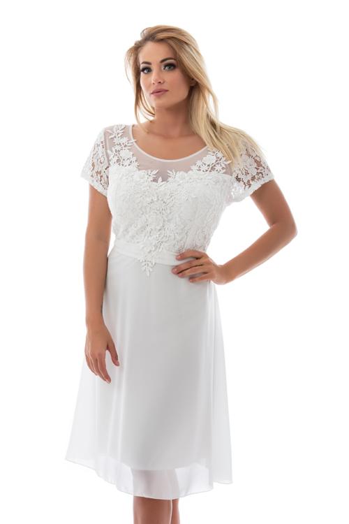 Violetta koktélruha, plus size, fehér