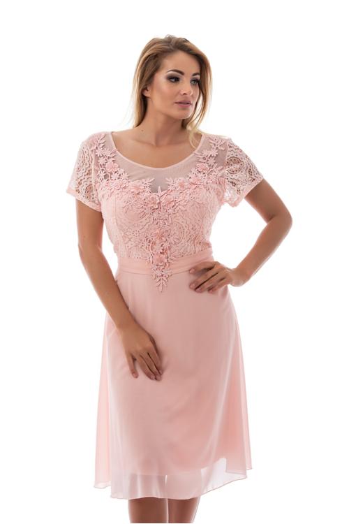 Violetta koktélruha, plus size, rózsaszín