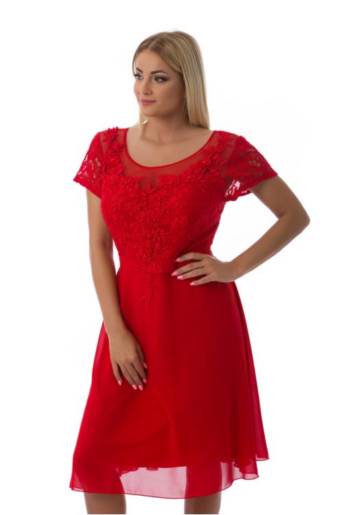 Violetta koktélruha, plus size, piros