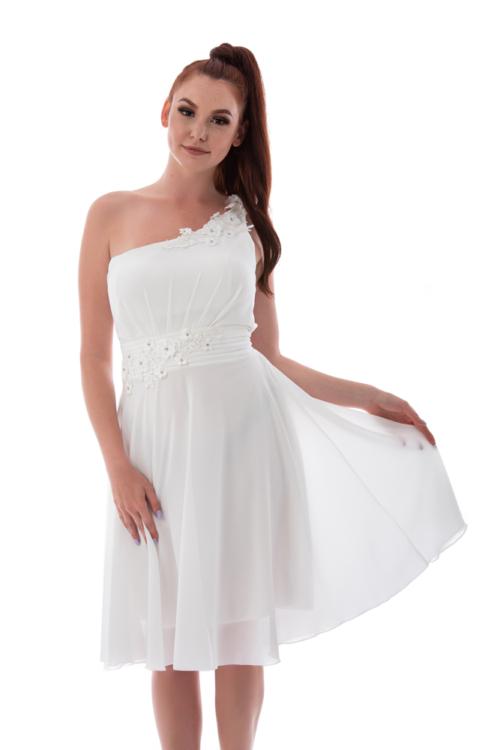 Cseresznyevirágos féloldalas koktélruha, fehér