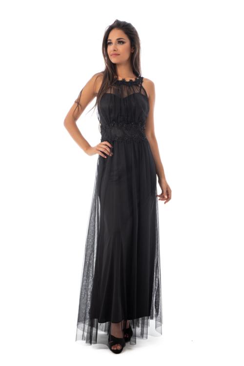 Rhea muszlin maxiruha, fekete