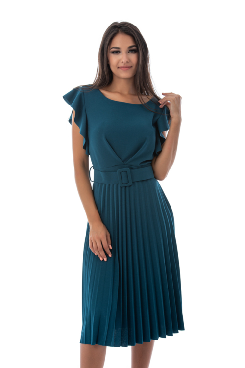 Fodros vállú, pliszírozott alkalmi ruha övvel, petrol kék