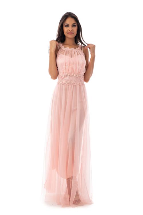 Rhea muszlin maxiruha, rózsaszín