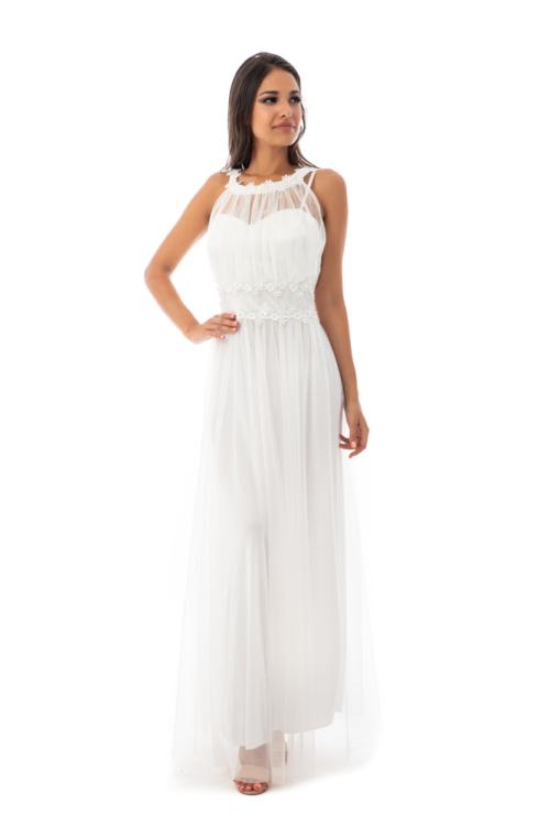 Rhea muszlin maxiruha, fehér