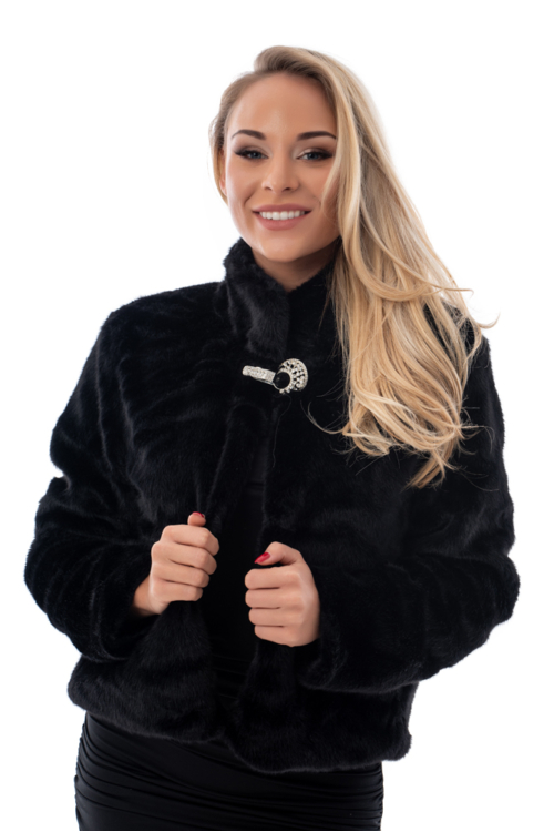 Puha szőrme kabátka, fekete