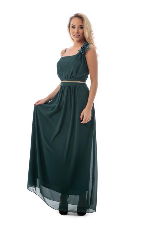 Muszlin maxiruha szaténrózsával, gyönggyel, fenyőzöld