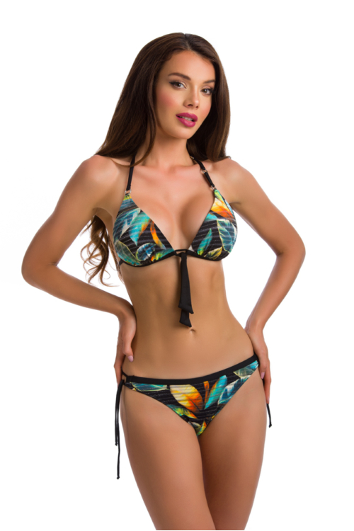 Paloma push-up háromszög bikini, dzsungel mintás, fekete 1002