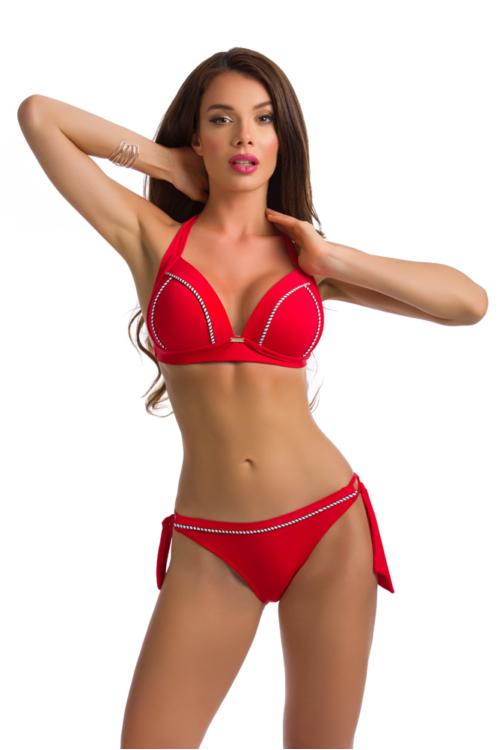 Paloma push-up háromszög bikini, sodort dekorral, piros 411