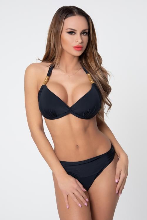 Pyramid kiszélesített push-up háromszög bikini, fekete-arany C-D kosár