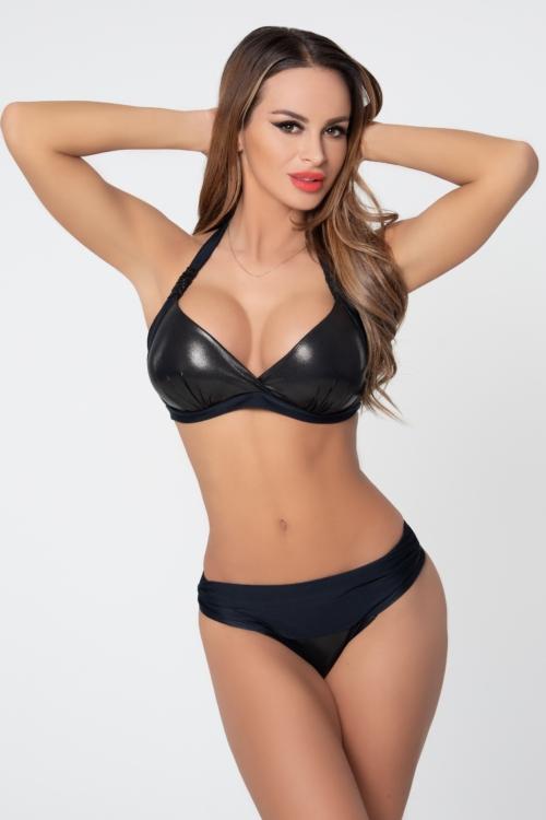 Pyramid kiszélesített push-up háromszög bikini, metál fekete, C-D kosár