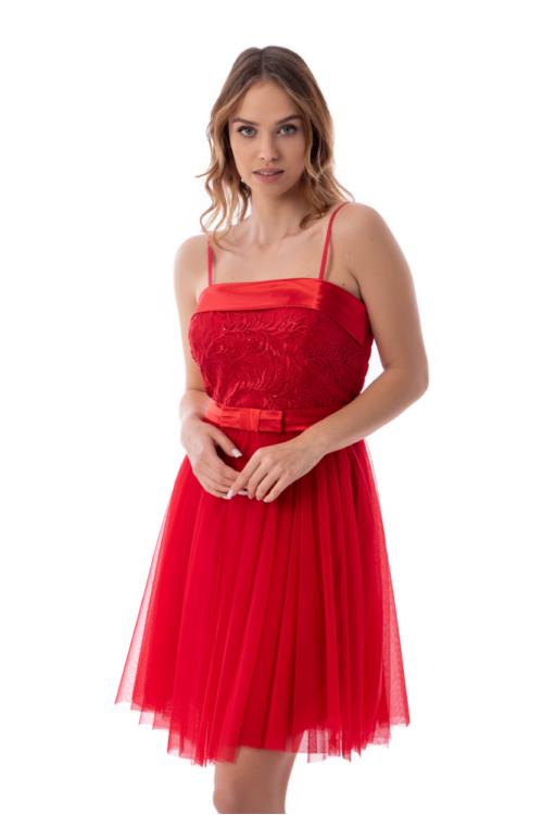 Fallon, selyem rátétes, tüllös koktélruha, piros