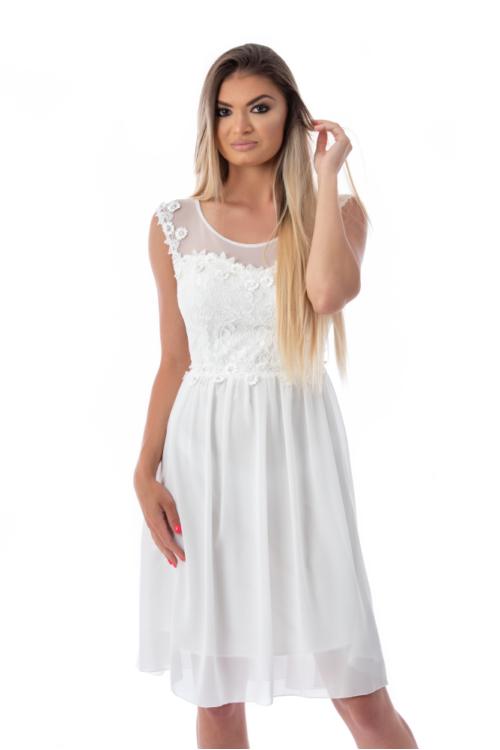 Zella muszlin koktélruha, fehér