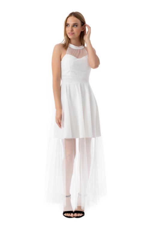 Nyakban záródó alkalmi maxiruha, fehér
