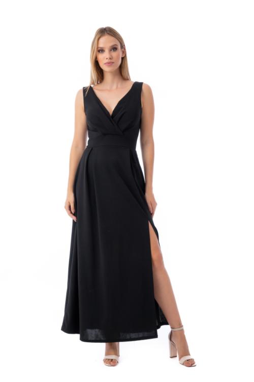 Felsliccelt alkalmi ruha, fekete