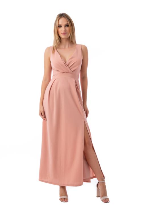 Felsliccelt alkalmi ruha, rózsaszín