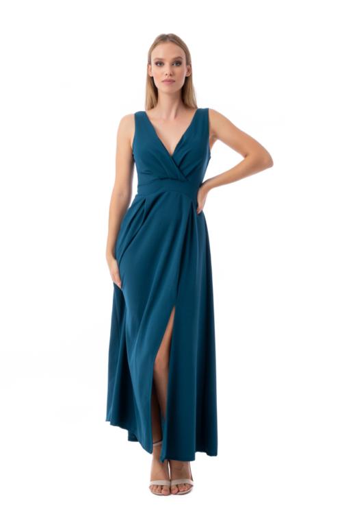 Felsliccelt alkalmi ruha, petrol kék