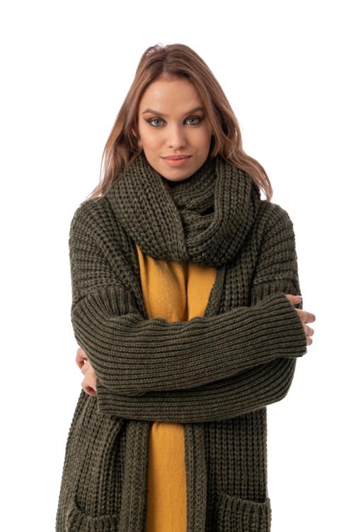 Oversize kötött kabátkardigán körsállal, khaki