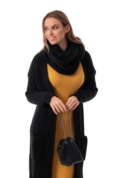 Oversize kötött kabátkardigán körsállal, fekete
