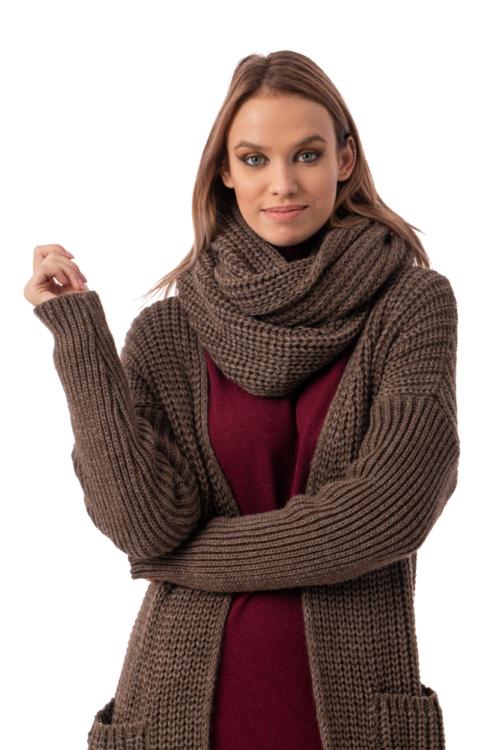 Oversize kötött kabátkardigán körsállal, barna