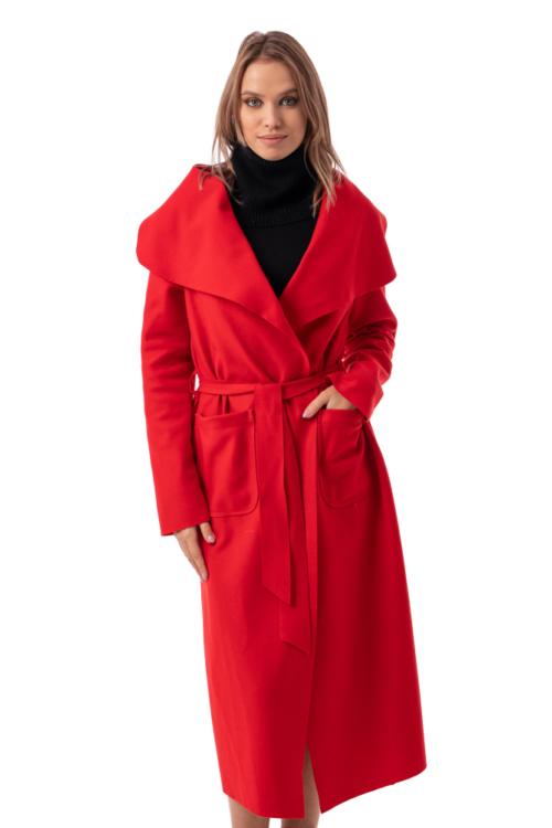 Béleletlen, félhosszú filckabát, piros