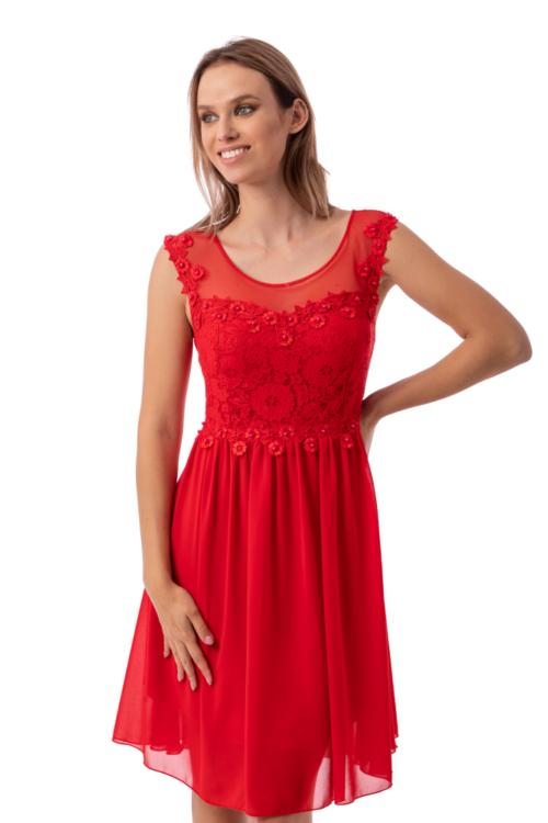 Zella muszlin koktélruha, piros