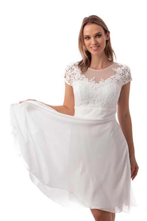 Bella muszlin koktélruha, fehér