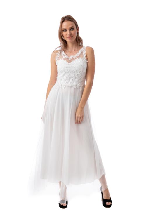 Horgolt virágos maxiruha, fehér