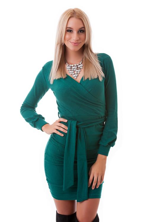 Átlapolt öves ruha, zöld