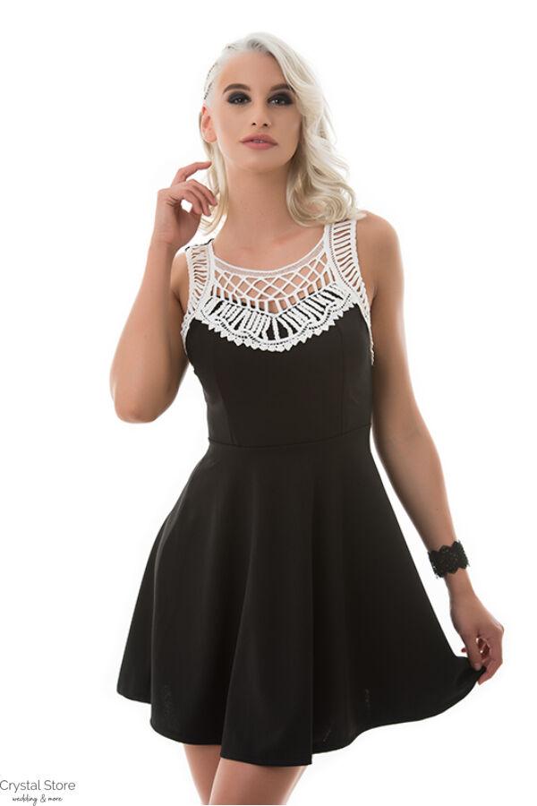 A-vonalú horgolt alkalmi ruha fekete