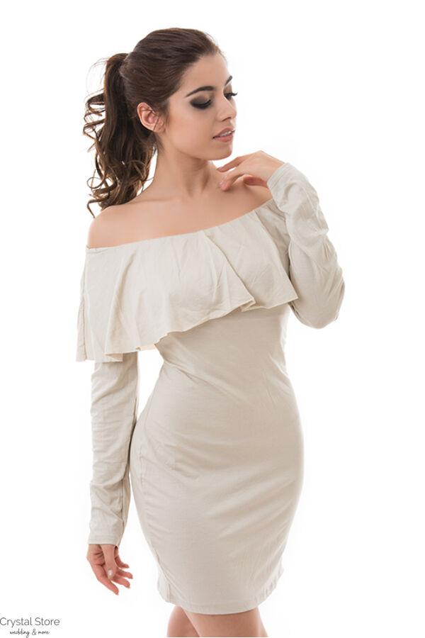 Fodros vállú ruha drapp