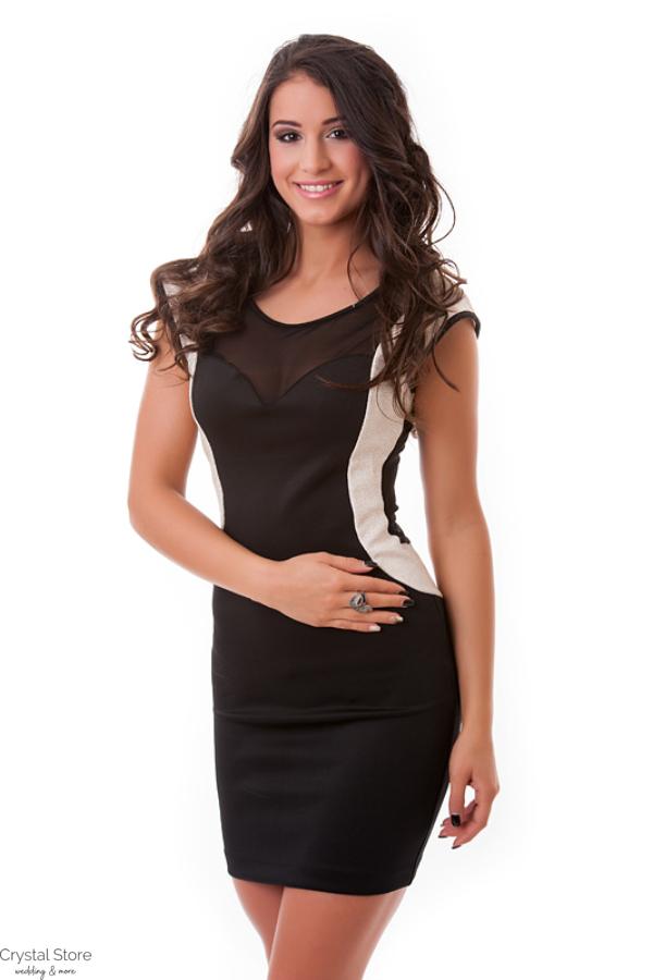 Neccbetétes alkalmi ruha fekete